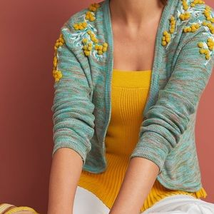 Anthropologie Pommed Campsis cardigan embroidered